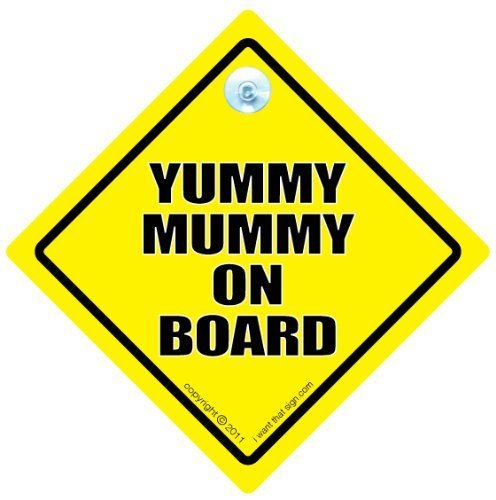 Sac à langer Motif Yummy Mummy sur panneau, Sac à Langer Motif Yummy Mummy, jaune, Style Panneau Baby on Board, Bébéà Bord, Bumper Sticker style Panneau, voiture, automatique Panneau