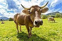 木製ジグソーパズルキッズおもちゃ大人のための小さな牛を食べる草のパズル2000ピース42x30in