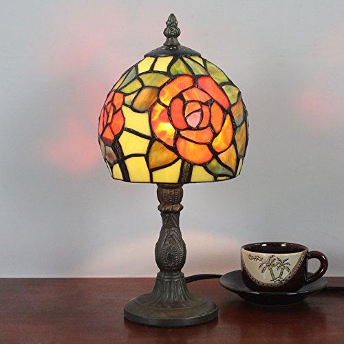 HDO 6 Zoll kreative orange Rose Pastoral Minimalistische Tiffany Stil Tischlampe Nachttisch Lampe Schreibtisch Lampe Wohnzimmer Bar Lampe