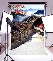 Assanu 3×5フィートビニール写真の背景中国万里の長城風景古典的なレトロな背景スタジオの小道具
