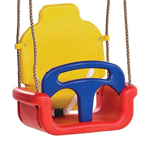WICKEY Babyschaukel 3 in 1 Kleinkindschaukel Sicherheits-Babysitz Schaukelsitz mit Kipp-Schutz, verstellbar, rot-gelb-blau