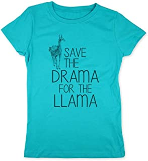 Save The Drama for The Llama - Kids Youth Young Girls Slim Fit Shirt