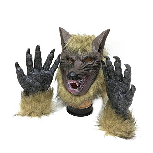 SUNREEK Traje de Hombre Lobo Guantes de Garras de Lobo y máscara para Halloween, Fiesta de Disfraces Cosplay