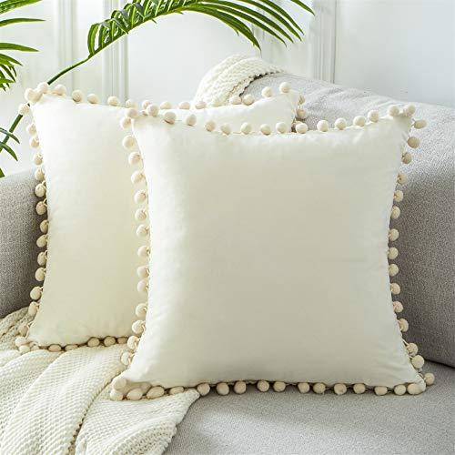 Topfinel Cream Velvet Cushion Covers 18x18 Inch Soft Square Decorative Throw Pillowcases for Livingroom Sofa Bedroom 45cmx45cm,Pack of 2
