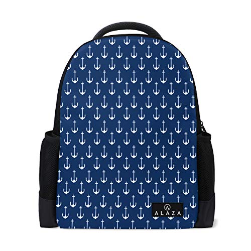 Travel Laptop Backpack Women Print Bookbags Navy Blue Chevron Best School College Student Daypack for Girls Teenage
