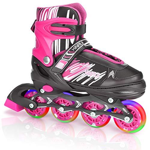 JOELELI Inline-Skates mit beleuchteten Rädern Verstellbare Rolle, Beleuchtete Outdoor und Indoor Rollschuhe für Jungen Mädchen Anfänger, Geschenke für Kinder, Geburtstagsgeschenke(L Rosa)