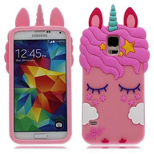 Samsung Galaxy S5 Carcasa 3D Dibujos animados Cover Absorción de impactos de chicas Las mujeres de Case a prueba de golpes delgado suave TPU de parachoques Funda para Samsung Galaxy S5 rosado i