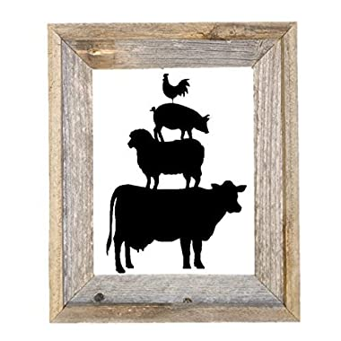 Farmhouse Stacked Animals Black Vinyl Wall Decal