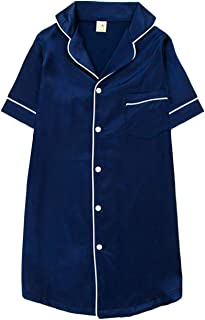 Kids Satin Nightgown Girls Button-Front Sleep Nightshirts Pajamas Nightgown