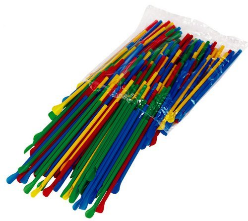 Bag of 200 Spoon Straws, Multi Colored for Sno Cones or Shaved Ice by Hypothermias