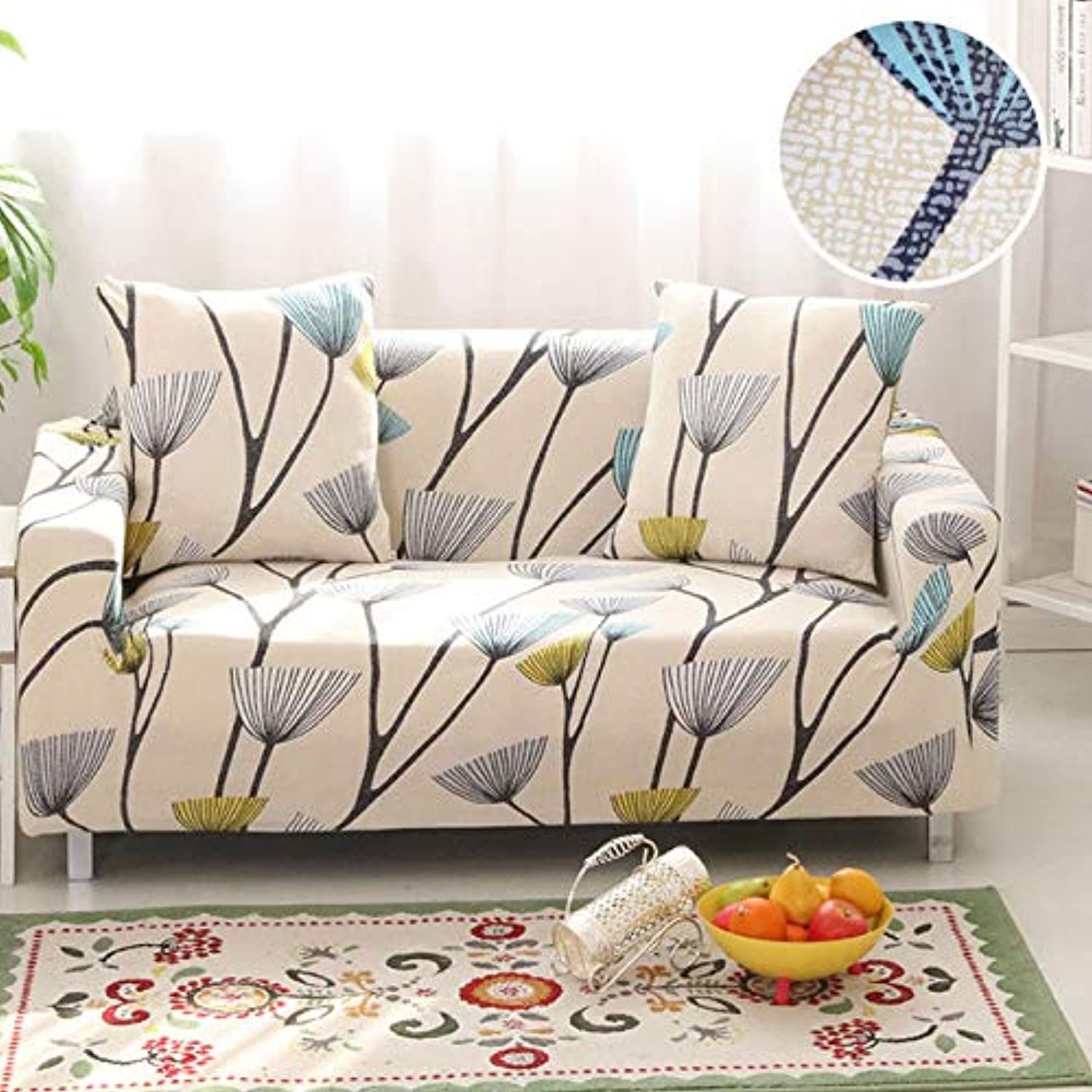 1 PC Sofa Cover Tight Wrap All-Inclusive Slip-Resistant Stretch Seat Covers Elastic Sofa Towel Single Two Three Four-Seater   color 19, 2-Seater 145-185cm