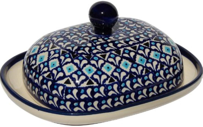 Polish Pottery Butter Dish From Zaklady Ceramiczne Boleslawiec  1394-217a Traditional Pattern, Width  6.25  Length  8