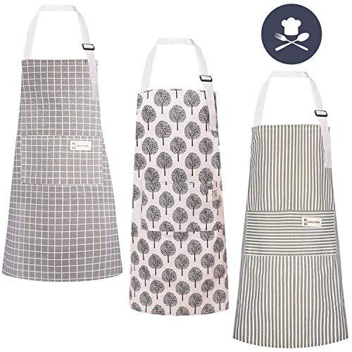 LAOZHOU 3 Stücke Baumwolle Leinen Kochschürze, mit Tasche Verstellbare Küchenschürze Damen und Männer zum Kochen oder Backen beige