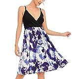 Funwave, vestito da donna con scollo a V, senza maniche, stile casual, estivo, con stampa floreale, vestito da spiaggia Blu L