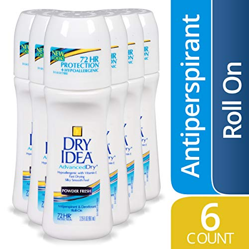Dry Idea Antiperspirant Deodorant Roll On, Powder Fresh, 3.25 Ounce, 6 Count