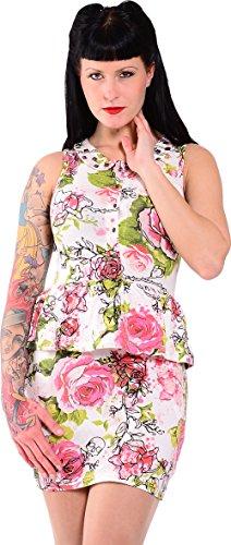Iron Fist Damen Kleid Creepy Rose Weiß XL