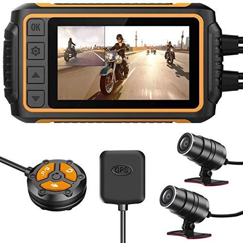 ALLWIN Leva Rociada Motocicleta,Cámaras Moto Delanteras Traseras 1080P Grabador Deportivo Impermeable LCD 3 Pulgadas con WiFi, GPS, Gyro Anti-Shake, G-Sensor, Control por Cable Y Visión Nocturna