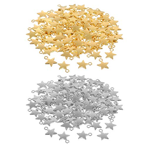 200 Pcs 13x10mm Star Charms Star Shape Charms Pendants for DIY Bracelet Necklace Earring Jewelry Making Decor, (Gold, Silver)