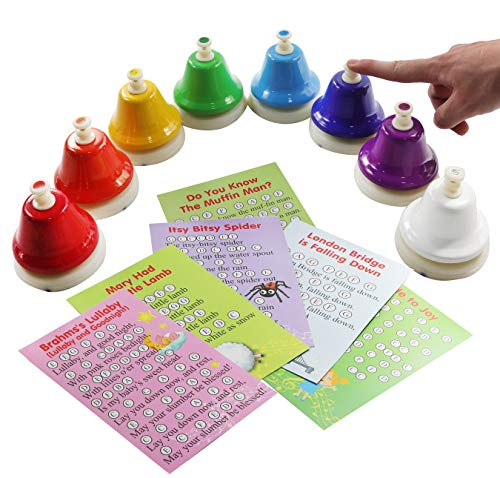 8-note Color Desk Bell Set - Song Book with Easy Sheet Music- Music Notes Cards - Color Stickers
