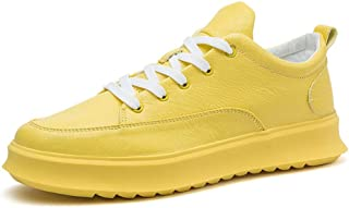 Shangruiqi Athletic Shoes for Men Sports Shoes Lace Up Style PU Leather Simple Pure Color Outsole Round Toe Anti-Wear (Color : Yellow, Size : 6.5 UK)