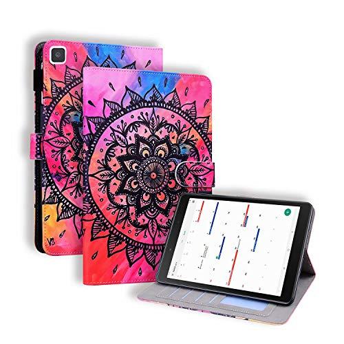 Miagon Coque pour Samsung Galaxy Tab A8.0 T290/T295/T297 {8 Pouces},PU Cuir Cover Housse Étui de Protection avec Support Emplacements Cartes,Mandala Fleur