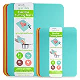 Simply Genius (8 Piece) Extra Thick Cutting Boards for Kitchen Prep, Non Slip Flexible Cut...