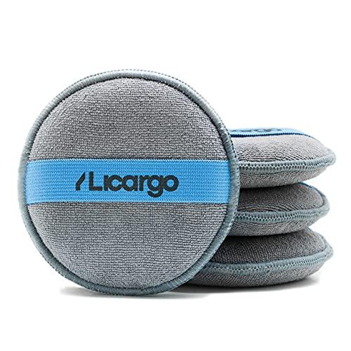 LICARGO® 4 esponjas para pulir a mano de alta calidad – Almohadillas aplicadoras de microfibra para la aplicación uniforme de pulido, cera y productos de cuidado – Esponja pulidora de mano
