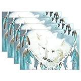 baihuishop Atrapasueños lobo 12x 18'manteles individuales mesa de comedor alfombrillas...