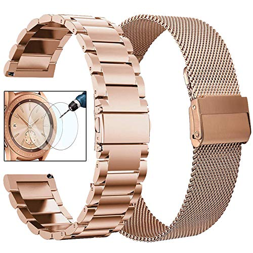 CAGOS Compatible Galaxy Watch 42mm Band Set, 2 Pack Stainless Steel + Mesh strap Bracelet Replacement for Samsung Galaxy Watch Active 2 40mm/44mm /Ticwatch E/Garmin Vivoactive 3 Smartwatch - Rose Gold