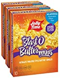 JOLLY TIME Blast O Butter Mini Bags   Movie Theater Style Extra Buttered Microwave Popcorn - Single...