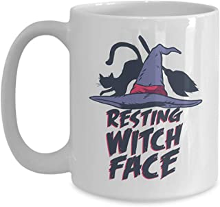 Witty Sarcastic Coffee Mug - Resting Witch Face - Sarcasm Funny Poker Face Witch Hat Broom Black Magic Magical Wizard Mood Expression 15 Oz