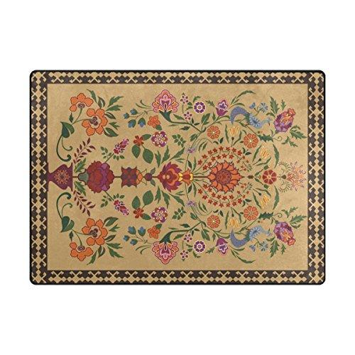 Mnsruu Grand tapis de sol léger et antidérapant pour salon et chambre à coucher Motif floral oriental vintage 203 x 147 cm