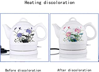 PU Electric Kettle Intelligent Control Electric Kettle Chinese Ceramics Stainless Steel Classical Chinese Lotus Watercolor Drawing Energy Saving 1L 15 18 26Cm Easy to Move,Fast Boil