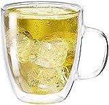 COLOCUP ダブルウォールグラス 二重構造 断熱 保温 保冷 タンブラー 耐熱 ガラスカップ 1個セット (350ML-取手付き)