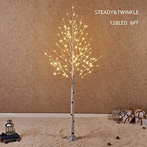 Hairui Betulla 180CM 128L per la Decorazione Domestica Albero di Natale Bianco con Luci LED Bianco Caldo Albero Artificiale Illuminato con Scintillio Parziale Caratteristica