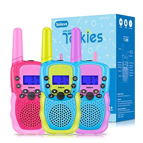Selieve Juguetes para Niños Walkie Talkie para Niños de 3 a 12 Años Teléfono Interactivos Juguetes Niñas Niños 3 KM de Largo Alcance con 8 Canales,Regalos para Adolescentes Niños o Niñas de 5 a 8 Años