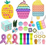 Yban Fidget Toy Pack Barato Pop It Pack Push Pop Bubble Sensory Juguetes Antiestrés Kit Juguetes Sensoriales Burbujas con Simple Dimple para Niños Adultos Aliviar el Estrés (2A)