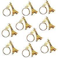 Ruikey キーリング キーホルダー かばん飾り エッフェル塔 個性的 景品 プレゼント かわいい小物 10個セット ゴールド