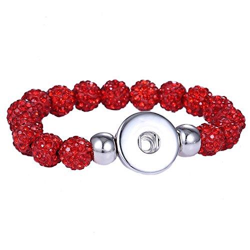 Morella Damen Armband für Click-Button Druckknopf mit Zirkonia Bead Perlen rot