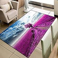 QQYYYT 3Dプリント青空紫農場の木花ナチュラルカーペットリビングルームベッドルームソファベッドサイドキッチンバスルームマットドアマットエリアカーペット