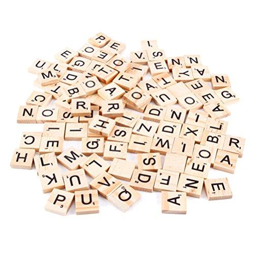 Kleine Scrabble-Buchstabenplättchen aus Holz, für Bastelarbeiten, Großbuchstaben, 100Stück, von SNNplapla Uppercase