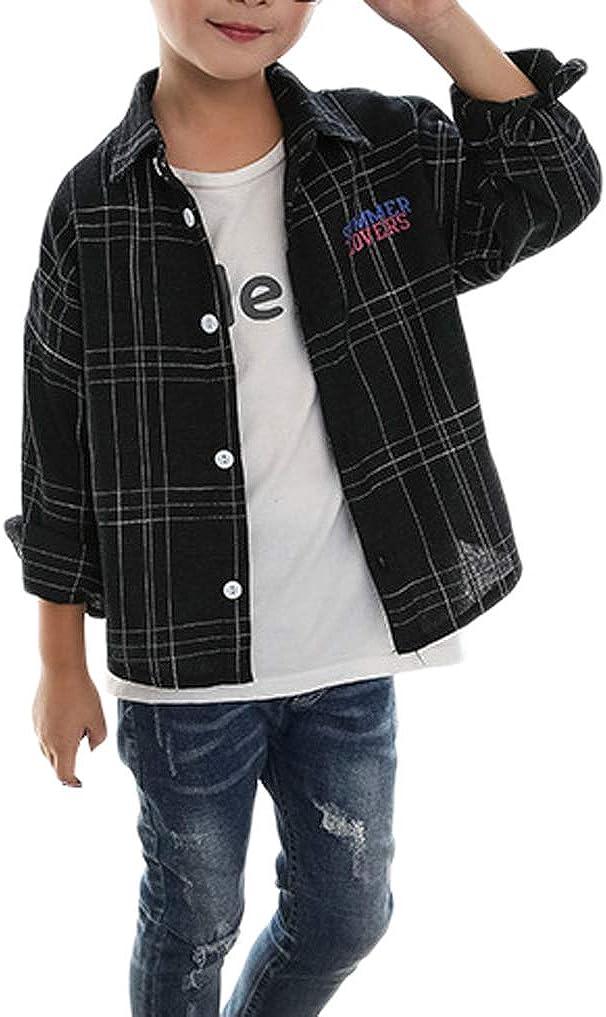 Boys Kids Black Plaid Checked Button Down Long Sleeve Cotton Shirt