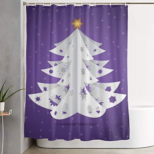AMIGGOO Shower curtain,paper origami christmas tree postcard,bathroom curtain washable bathroom curtain polyester fabric with 12 plastic hooks 180x180cm
