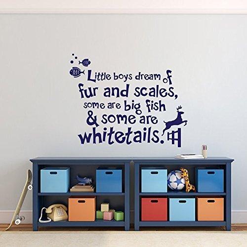 Sticker Decal Autocollant Mural Little Boys Dream of Fourrure et Balance - Décoration pour Chambre de garçon - Décoration Murale - Citation de Chasse - Blanc - 117 x 147 cm
