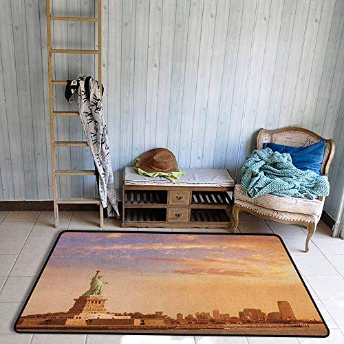 Large Area Rug,Sculptures Statue of Liberty American Freedom Symbol on NYC Sunset with River Skyscraper,Anti-Static, Water-Repellent Rugs,5'3'x7'10', Yellow White