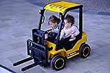 ES-TOYS Carrello elevatore Veicolo Elettrico per Bambini Funzione Musica Cintura, colorazione:Giallo