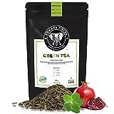 Edward Fields Tea  - Té verde orgánico a granel con Granada y Menta. Té bio recolectado a mano con cúrcuma, jengibre y bayas de goji. 100 gramos, China.