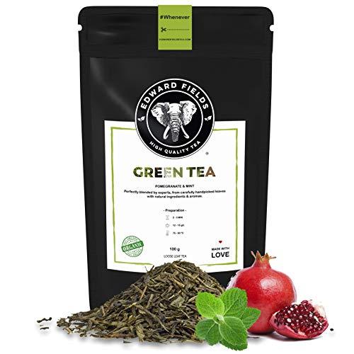 Edward Fields Tea ® - Té verde orgánico a granel con Granada y Menta. Té bio recolectado a mano con cúrcuma, jengibre y bayas de goji. 100 gramos, China