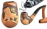 """La pipa fatta del pero di alta qualita, lavorazione a mano """"Leone V"""" + la borsa da tabacco"""