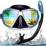 EXP VISION Snorkel Diving Mask Set, Panoramic HD Scuba Swim Mask, Tempered Anti-Fog Lens Glasses Snorkel Goggles, Scuba Dive Snorkel Mask with Silicone Skirt Strap for Dry Snorkeling, Swimming